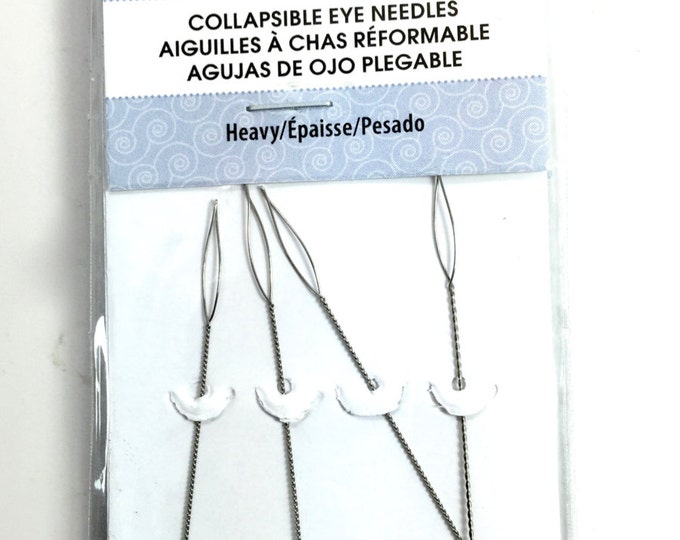 HEAVY Beadalon 4 Pack Collapsible Eye Needles  2.5""