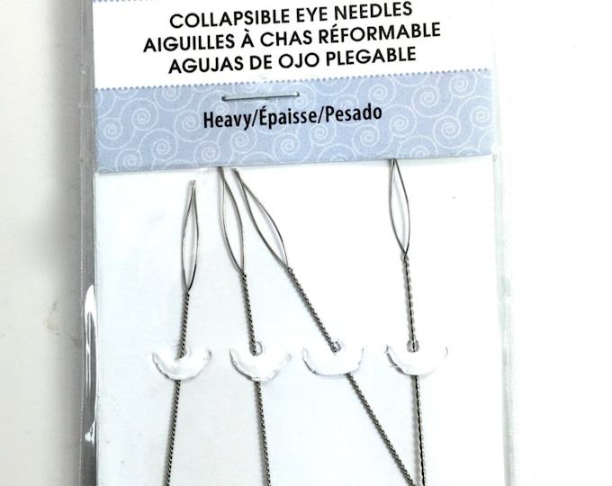"HEAVY Beadalon 4 Pack Collapsible Eye Needles  2.5"""