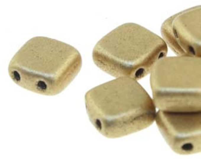 Tile 6mm 2 Hole Bead,, MATTE METALLIC FLAX  25 Beads per Strand