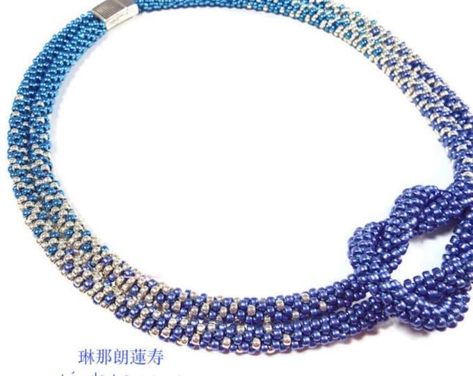 COMPLETE KIT True Blue Love Knot  Tri-Color Ombre Necklace