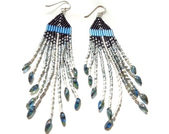 Beaded Fringe Earrings, Southwest Style, Native American, Long Dangles, Boho, Hippy