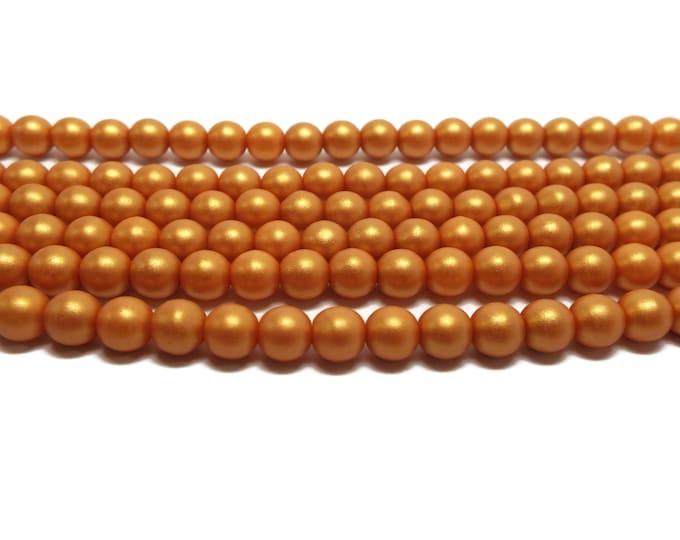 6mm Matt Metallic Gold Druks,  Czech Glass Beads, 26 Beads/Strand