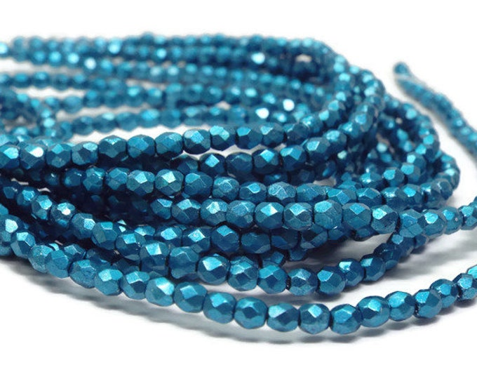 Firepolished Beads, 2mm, Saturated Metallic SUEDED SPRUCE Strand of 50