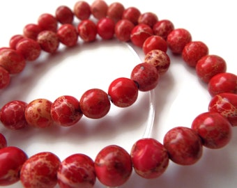 "8mm Red Imperial Jasper Round Beads AAA Quality. 15"" Strand 50 Beads"