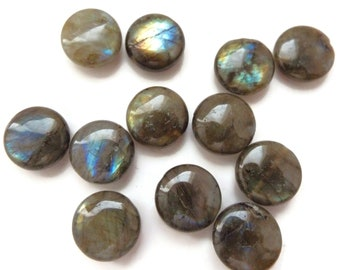 LABRADORITE, 16mm COINS,  Gorgeous Bright Blue Flash,  Set of 6