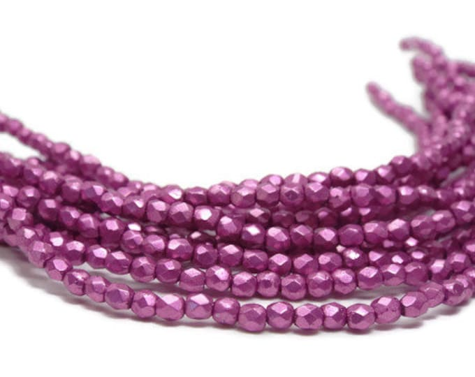 2MM Firepolish Beads, Round Czech Glass,  COLOR TRENDS,  Saturated Metallic Pink Yarrow  Strand of 50