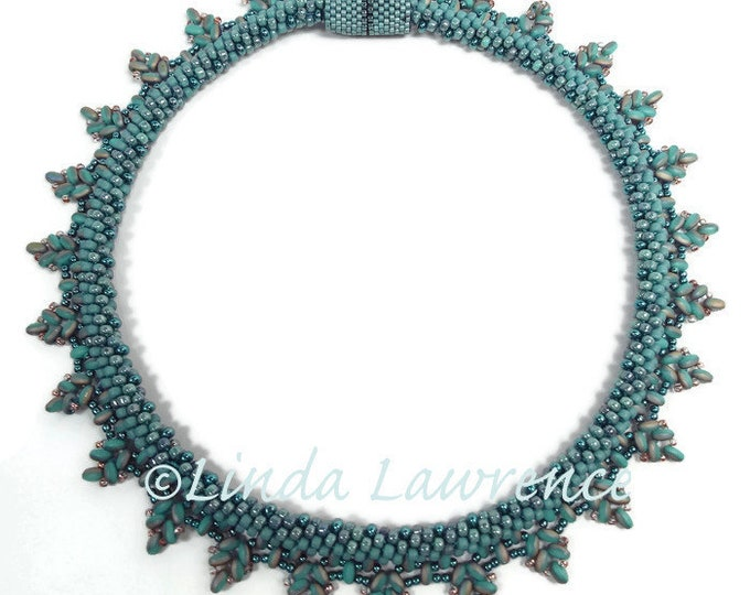 Necklace, Kumihimo Beaded Fringe Collar in  Turquoise Picasso Finish