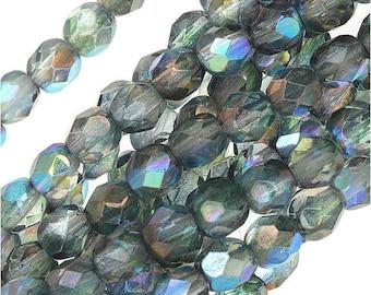 3MM Fire Polished Czech Glass Beads, Two Tone Crystal/Montana Blue AB Luster 50 beads