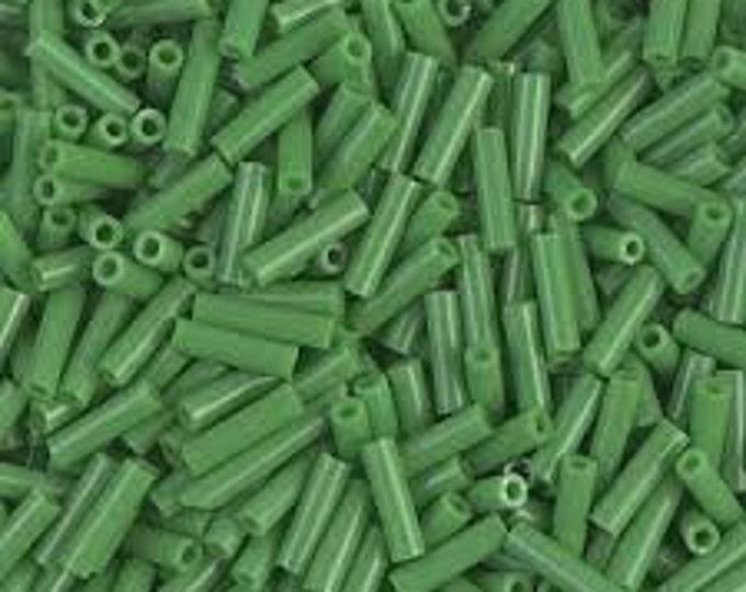 Bugle Beads 6mm Opaque Green Miyuki Glass Bugle Beads 17 grams #BGL2-9011