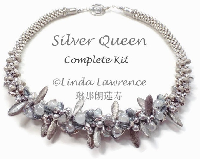 COMPLETE KIT with TUTORIAL Kumihimo Silver Queen Necklace