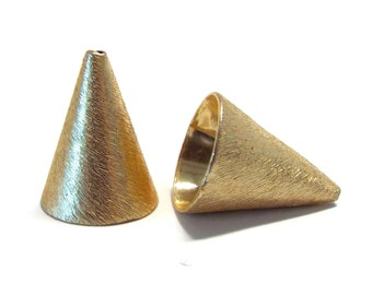 14mm End Cap, Cord End, Cone, Brushed 22K Gold Plating, per PAIR