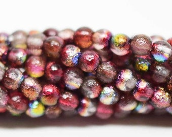 4mm Smooth Druk, ETCHED MAGIC RASPBERRY, 50 Beads per Strand