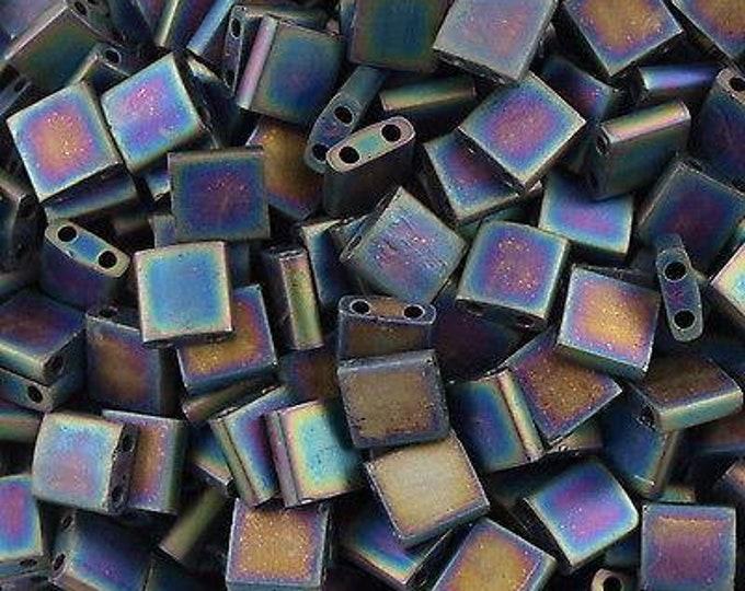Tila 2 Hole Square Bead 5MM, Matte Black AB,  7.2 gram Tube, Miyuki TL401FR