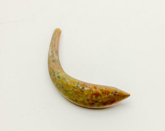 Hollow Crescent Tube Horn - Small - Matte - Golden Brown, Multicolor Highlights