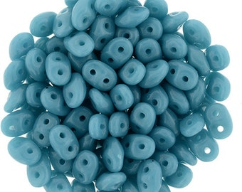 SuperDuo 2 Hole Beads, Sleeping Beauty Turquoise  Czech Seed Beads, 10 grams 2.5x5mm
