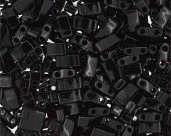Half Tila 2 Hole Rectangle Beads 5x2.3mm -Opaque  BLACK, Miyuki, TLH401. 10 grams