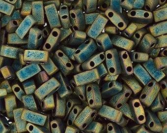 Half Tila 2 Hole, Miyuki, Rectangle Beads 5x2.3mm - Matte Metallic Patina Iris 10 grams