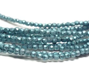 2mm Firepolish Beads,  Round Czech Glass, ISLAND PARADISE  Strand of 50
