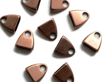 END CAP FLAT Triangle Copper, 10x2mm  Set of 2  Use in Love Knot Designs, Kumihimo, Leather, Earrings