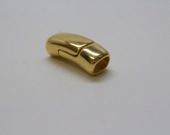 MAGNETIC CLASP Bright Shiny Gold for Leather or Kumihimo 10x7 ID