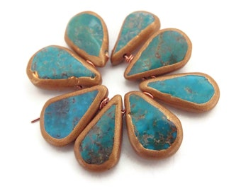 LOT #3 African Turquoise Teardrop Beads, Gold Gilded Edges