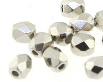 3MM Fire Polished Glass Beads,  Nickel Plate 50 beads