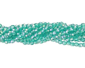 3MM Fire Polished, Teal  Luster Iris, 50 beads