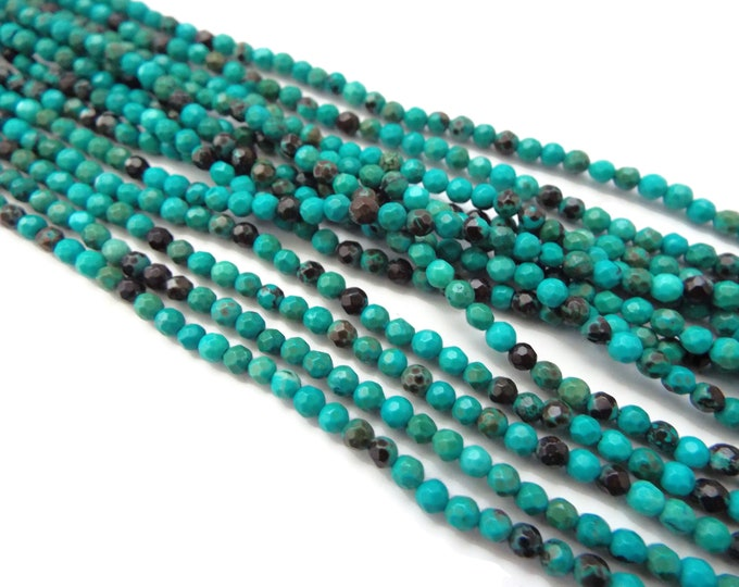 "3mm Faceted Green Turquoise Rounds AAA Quality. 15"" Strand"