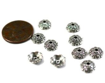 TIERRA CAST Bead Cap Antique Silver 8mm  Set pf 6