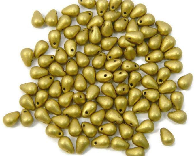 Teardrop Beads, 6x4mm  Czech,  Matte Metallic Aztec Gold Strand of 100