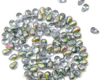 TEARDROP BEADS, 6x4, Czech Glass,  Fringe Bead, Vitral Alexandrite, 100 beads per order