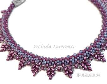 Necklace, Kumihimo Beaded Fringe Collar in  Purple Haze