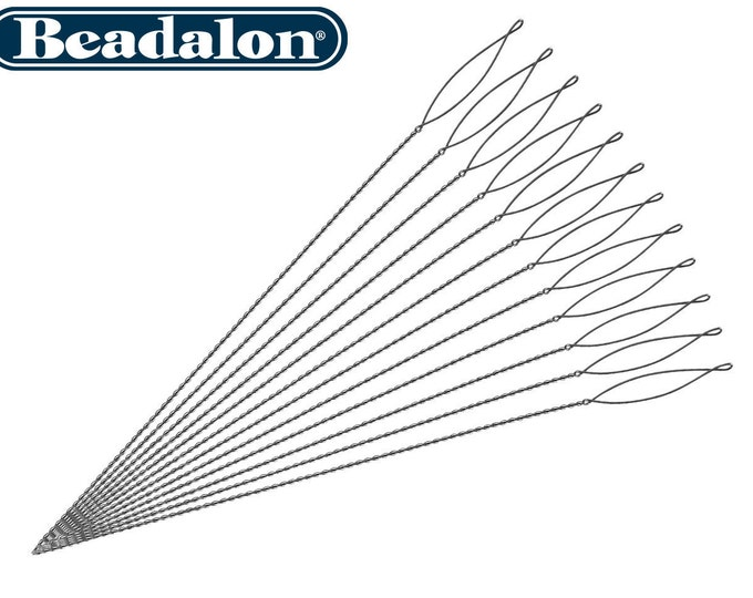 "MEDIUM SIZE BEADALON. Collapsible Eye Needles,  Medium Size   2.5"" 4 Pack"
