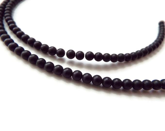 Druk, 4mm Smooth, Matte Black, 50 Beads per Strand