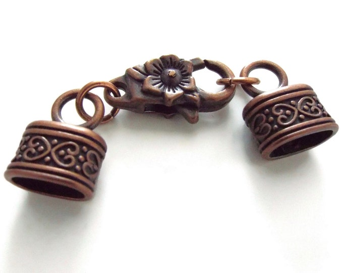 10mm x 6mm Oval Antique Copper End Caps with Floral Motif, Lobster Claw and Clasp Set, Kumihimo Closures