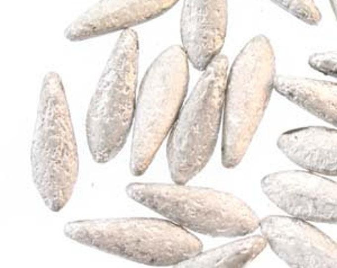 Dagger Beads, 5x16mm, (single hole)  Czech Glass, Etched LABRADOR, 25 Beads