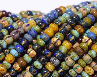 "6/0 Aged Caribbean Blue Stripped Picasso  Mix - 20"" Strand, 4mm Czech Glass Seed Beads"
