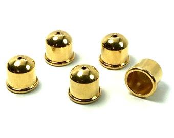 6mm END CAP,  Gold, TierraCast Cupola, 1 PAIR