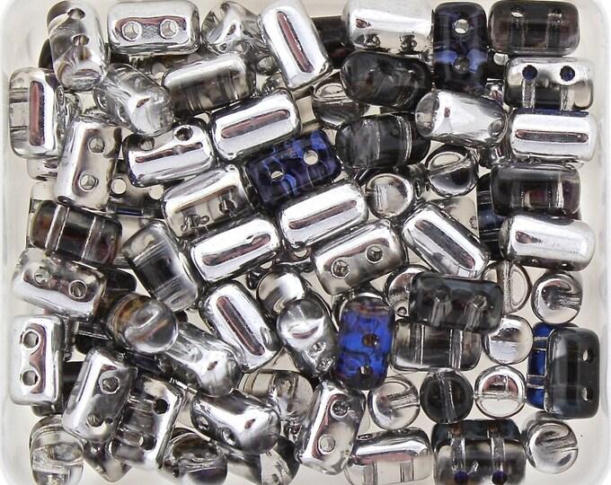 RULLA 2 Hole Bead, Crystal Heliotrope, Czech Matubo, 3 x 5mm, 20 Grams