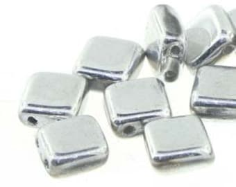 Tile 6mm 2 Hole Bead,, BRIGHT SILVER 25 Beads per Strand