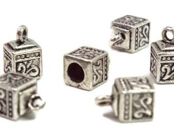 End Cap, Cord End  Antique Silver, Square 3.5mm.  6 pieces