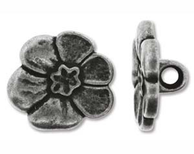 BUTTON FLOWER  Set of 2,  Antique Silver Tone 18MM