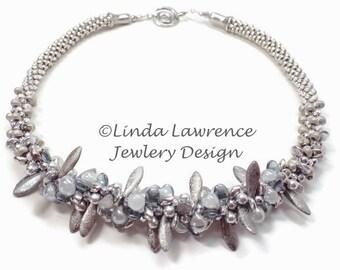 NECKLACE, Kumihimo, Silver Queen  Wedding Jewelry, Original Design