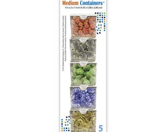 Bead Storage Solutions Medium Containers 5 Pieces. 1 3/4 x2x 1 1/8