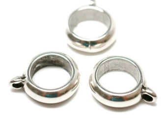 10mm LARGE HOLE BAIL Antique Silver, Climbing Cord, Kumihimo