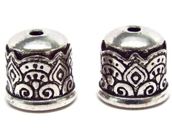 6mm Tierra Cast Temple End Cap.  Antique Silver, BRAND NEW. Priced per Pair