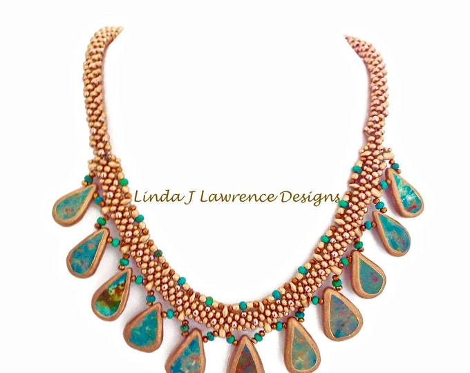 African Green Turquoise Teardrop Necklace and Earrings Set