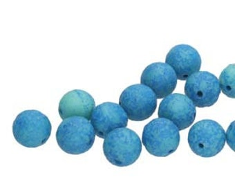8MM Lava Etch Czech Glass Round Druk, Turquoise Green Blue, 20 Beads