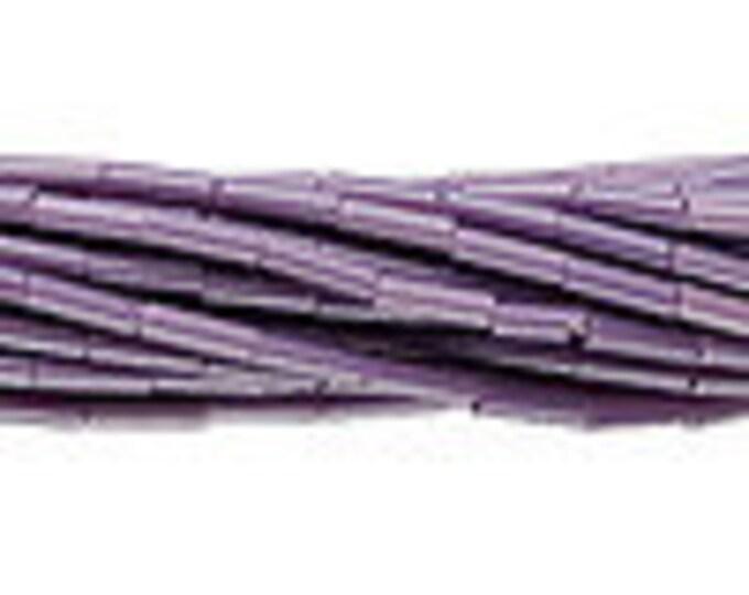 6mm Bugle Beads #3 Preciosa Czech Glass Opaque Purple, 20 Grams