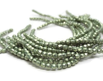 2MM Fire polished Round Beads, Czech Glass, GREENERY, Strand of 50